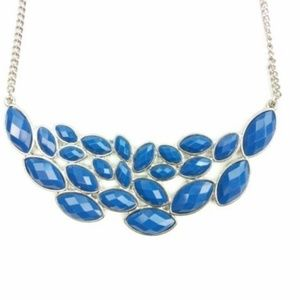 Old Navy Costume Jewelry Necklace Blue Bib Silver